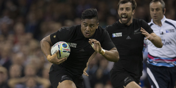 Julian Savea in action for the All Blacks during last year's Rugby World Cup. Photo / Brett Phibbs