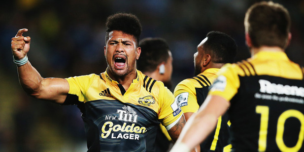 Ardie Savea celebrates after winning the round three Super Rugby match between the Blues and the Hurricanes. Photo / Getty