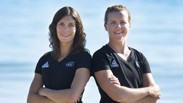 Women's 470 crew (L-R) Jo Aleh and Polly Powrie. Photo / Brett Phibbs