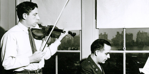 The Strad's owner, Roman Totenberg, performs with composer Samuel Barber. Photo / Totenberg family via NPR