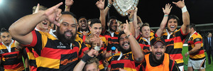 Waikato celebrate with the Ranfurly Shield following their win over Hawkes Bay. Photo / Getty