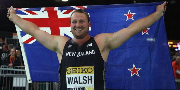 Tom Walsh celebrates. Photo / Getty