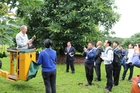 Avocado grower John Cotterell demonstrating avocado orchard methods to delegation from China's CIQA.
