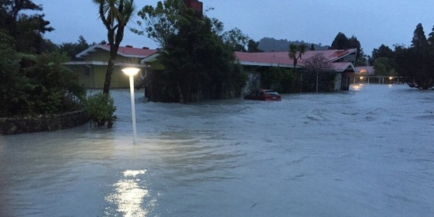 Loading Flooding caused the Waiho River to burst its banks. Photo / Newstalk ZB