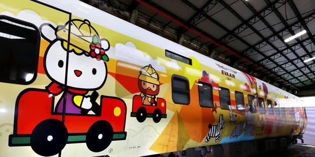 The Hello Kitty train took its maiden journey on Monday. Photo /  EVA Air, Facebook