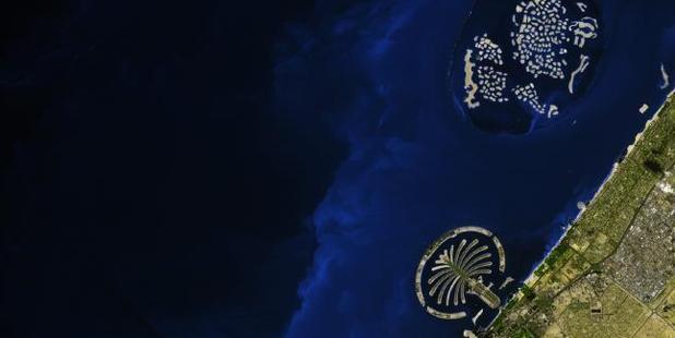 Dubai's Palm Islands and The World. Photo / NASA/ Jesse Allen