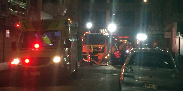 Emergency services at the scene of the accident.