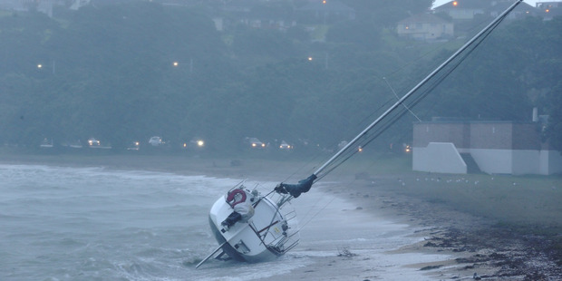 Storm damage at Okahu Bay in Thursday morning. Photo / Greg Bowker