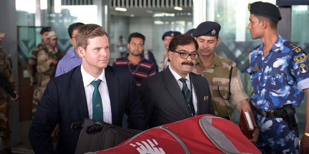 Australia captain Steve Smith arrives at Kolkata airport earlier this month. Photo / Getty Images