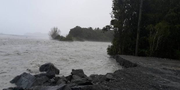 High waters cause erosion in Franz Josef. Photo / Nicolaas Bester