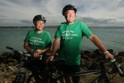 Wearing this year's bright green T-shirts, Tourism Hawke's Bay general manager Annie Dundas (left) and Napier City Council events manager Kevin Murphy tried out a section of the Big Easy trail yesterday. Photo / Paul Taylor