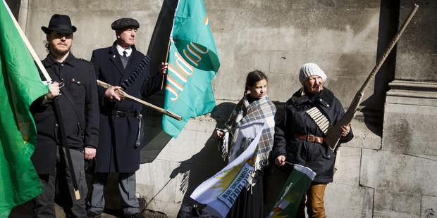 People dressed in historical costumes from the 1916 Easter Rising. Photo / AP