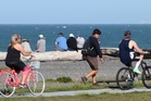 It was a beautiful day yesterday and plenty of people were out using the Rotary Pathway, on Marine Parade, Napier. Photo / Duncan Brown
