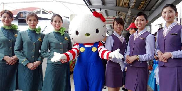 Hello Kitty with station staff. Photo / EVA Air