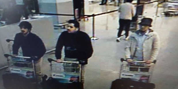 Loading In this image provided by the Belgian Federal Police shows three men who are suspected of taking part in the attacks at Belgium's Zaventem Airport. Image / supplied via AP