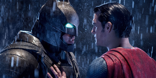 Loading Ben Affleck as Batman and Henry Cavill as Superman in Zach Snyder's Batman v Superman: Dawn of Justice.