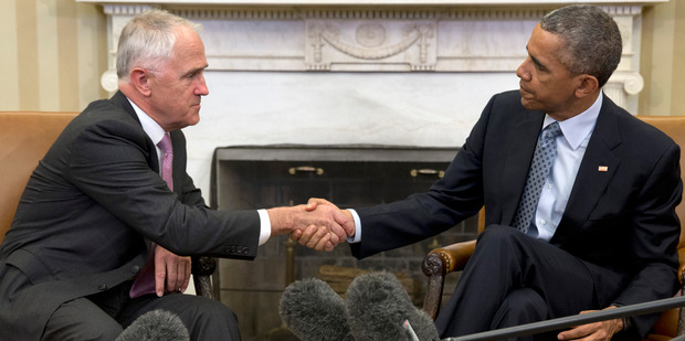 President Barack Obama shakes hands with Australian Prime Minister Malcolm Turnbull after speaking to the media in the Oval Office of the White House in Washington in January. Photo / AP