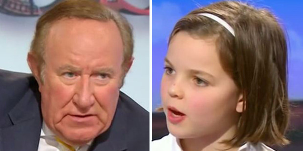 10-year-old Charlotte (right) and fellow young guest Henrietta, from Worcester, took it in turns to grill Mr Neil (left) about the sugar tax. Photo: BBC Two