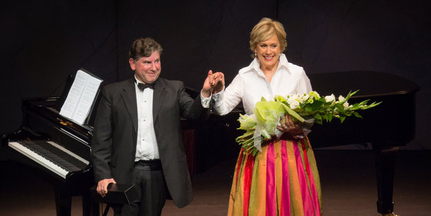 Dame Kiri Te Kanawa and her pianist Professor Terence Dennis take a bow at the end of Saturday's show in Baycourt. Photo / Cinzia Jonathan