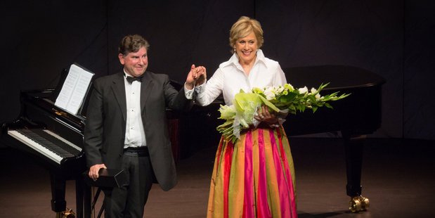 Dame Kiri Te Kanawa and her pianist Professor Terence Dennis take a bow at the end of Saturday's show in Baycourt. Photo/Cinzia Jonathan