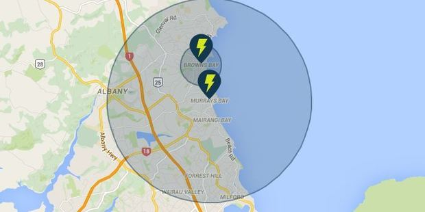 A massive part of the North Shore is without power. Image / Vector