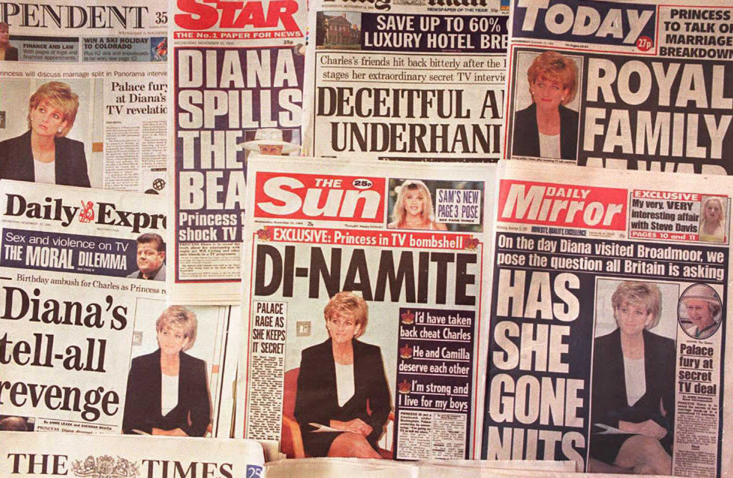 Print media react to Diana's interview. Photo / Getty