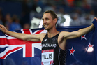 Nick Willis of New Zealand celebrates after the Men's 1500 metres final at Hampden Park. Photo / Getty Images