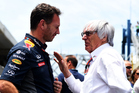 F1 supremo Bernie Ecclestone speaks with Red Bull Team Principal Christian Horner. Photo / Getty Images