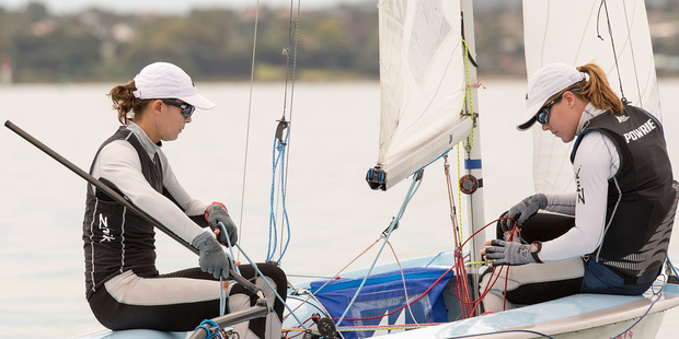 Jo Aleh and Polly Powrie practice sailing in their 470. Photo / Getty Images