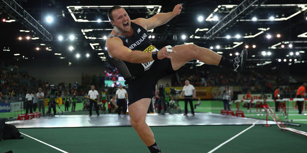 Tom Walsh competes during the IAAF World Indoor Championships at Portland. Photo / Getty Images