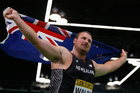 Tom Walsh celebrates winning gold during the IAAF World Indoor Championships. Photo / Getty Images