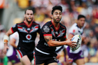 Shaun Johnson playing against the Melbourne Storm. Photo / Getty Images