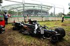 The wreckage of Fernando Alonso's McLaren Honda at the Australian Formula 1 Grand Prix. Photo / Getty Images