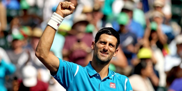 Novak Djokovic celebrates during the mens final of the BNP Paribas Open at the Indian Wells. Photo / Getty Images