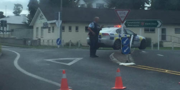 "A Twitter user posted a photo of one of the road blocks. ""Multiple police blocked off roads and have rifles in #Morrinsville,"" the tweet said.  Photo / Twitter / @JaureguiWhip"