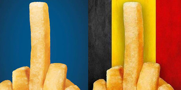 The controversial Burger King campaign shows fries arranged to look like they're giving the middle finger, in defiance and anger at the Isis terrorists who claimed responsibility for the bombings.
