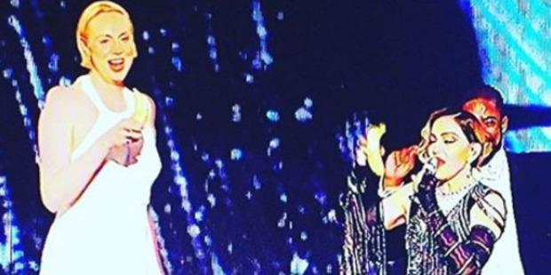 Game of Thrones star Gwendoline Christie on stage with Madonna. Photo / Instagram