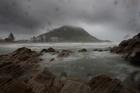 John Borren films the wet weather around Tauranga today.
