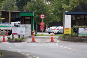 The scene just of Constellation Drive at EnviroWaste refuse station where the man was crushed to death. Photo / Daniel Hines