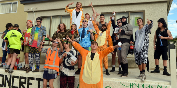 Students attend the annual Hyde street party in Dunedin. Photo / Otago Daily Times