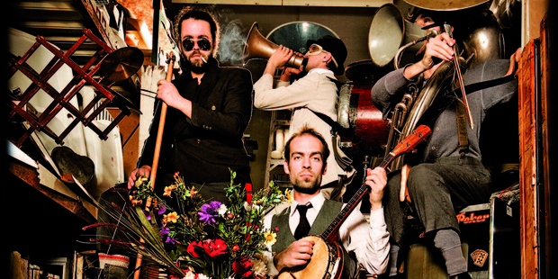 L'orchestre d'hommes-orchestres say they don't play Tom Waits, they play at Tom Waits. Photo / Supplied