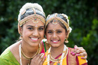 Anjali Lal, 16, (left) and her sister Komal Lal, 10, of the Anvjay Indian dance group, get ready to perform.  Photo / Jason Oxenham
