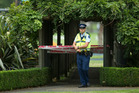 Police stand watch at Kuirau Park after a incident there last night.  Photo/Stephen Parker