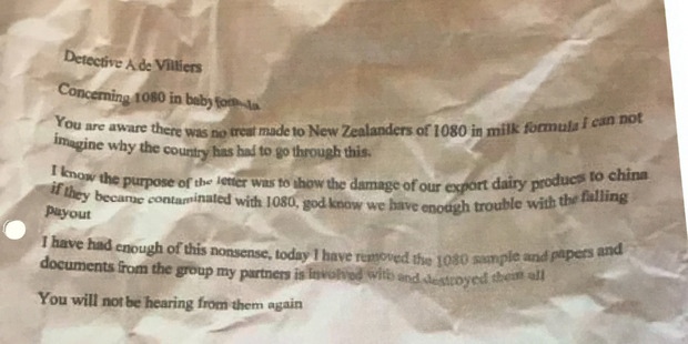 A second 'retraction letter' was found in a business address connected to Jeremy Kerr. Photo / Supplied