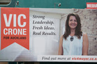 Vic Crone's billboard at 136 Hobson Street is in breach of Auckland Council's election sign bylaw because it has been ruled an election sign by the Electoral Officer. Photo / Greg Bowker