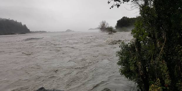 The flooded Waiho River in Westland. Photo / Supplied