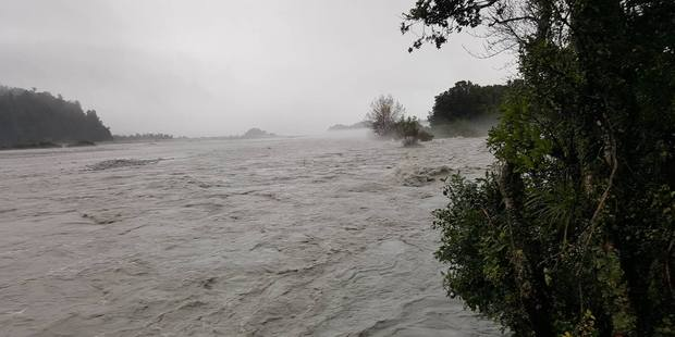 The flooded Waiho River in Westland after wild weather hit the country.
