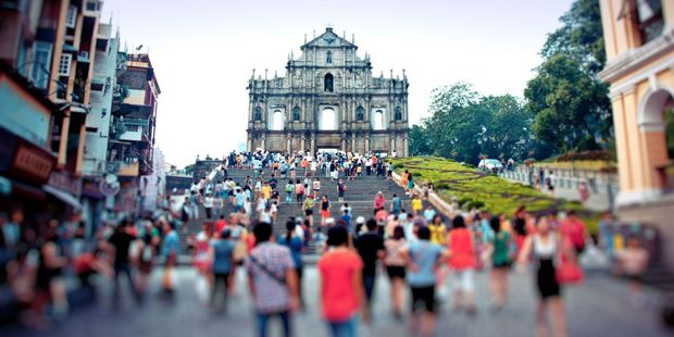 Tourists visit the Cathedral of Saint Paul Sao Paulo Church in Macao.