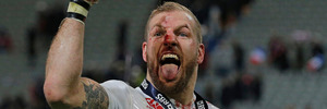 England's James Haskell celebrates after the Six Nations international rugby match between France and England at the Stade de France stadium. Photo / AP.
