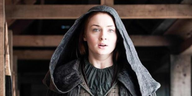 Loading Sophie Turner as Sansa Stark in the final episode of Game of Thrones' 5th season.